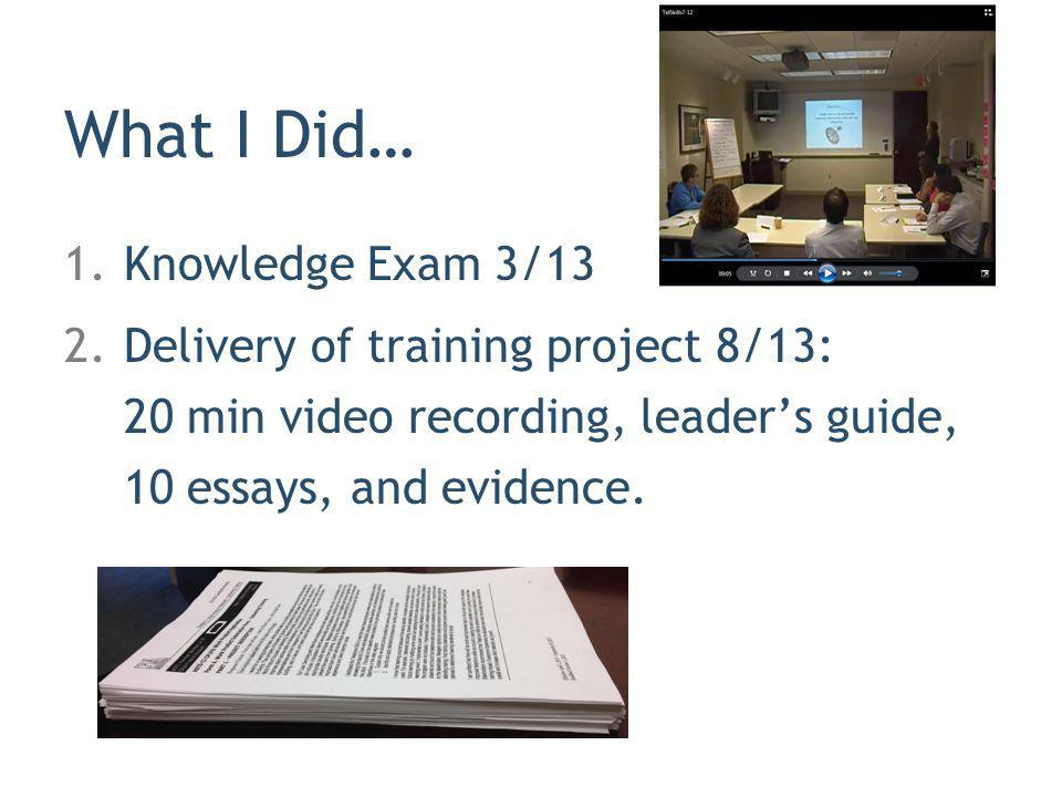 What I Did… Knowledge Exam 3/13