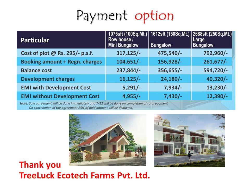 Payment option Thank you TreeLuck Ecotech Farms Pvt. Ltd.