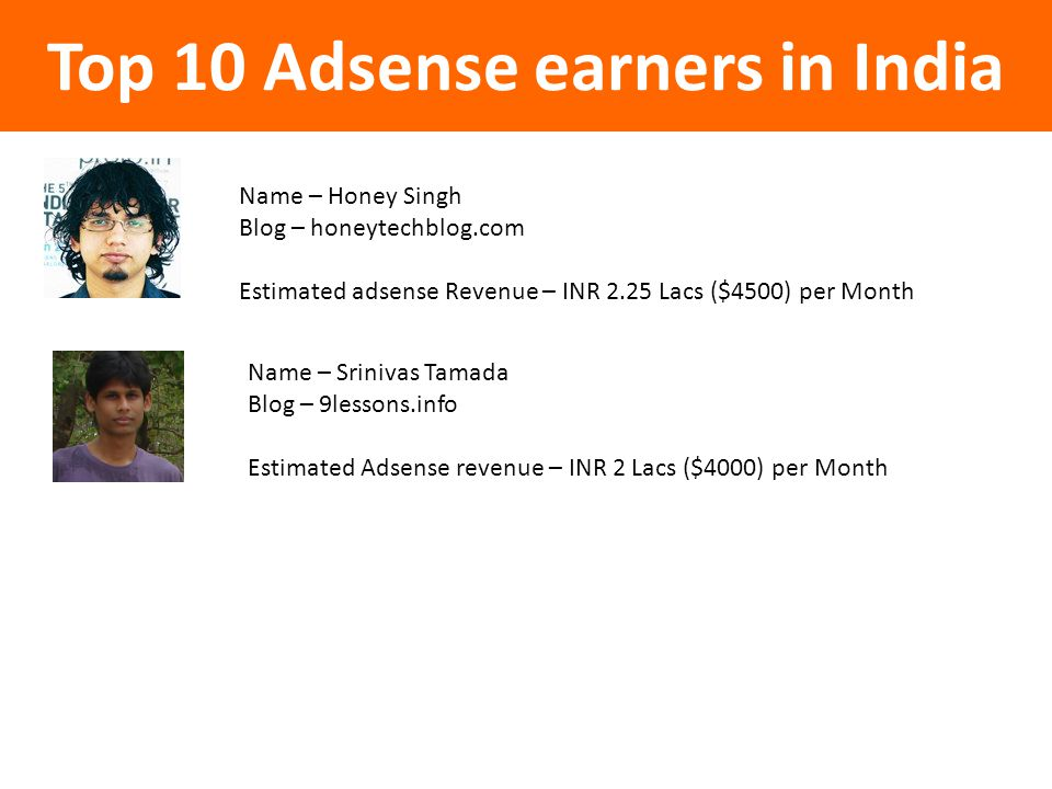 Top 10 Adsense earners in India