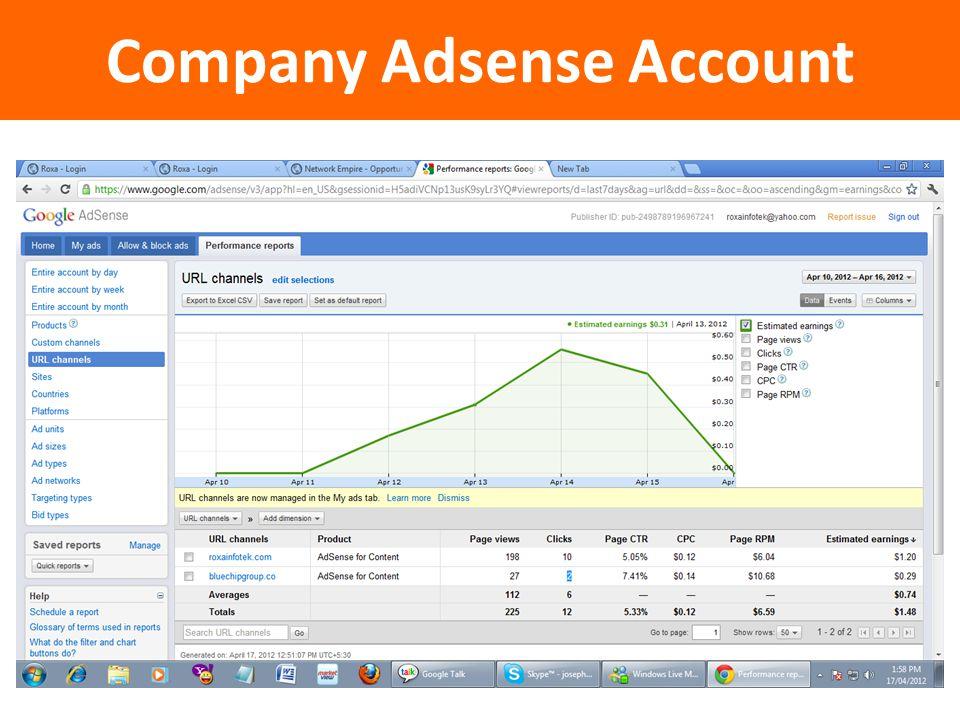 Company Adsense Account