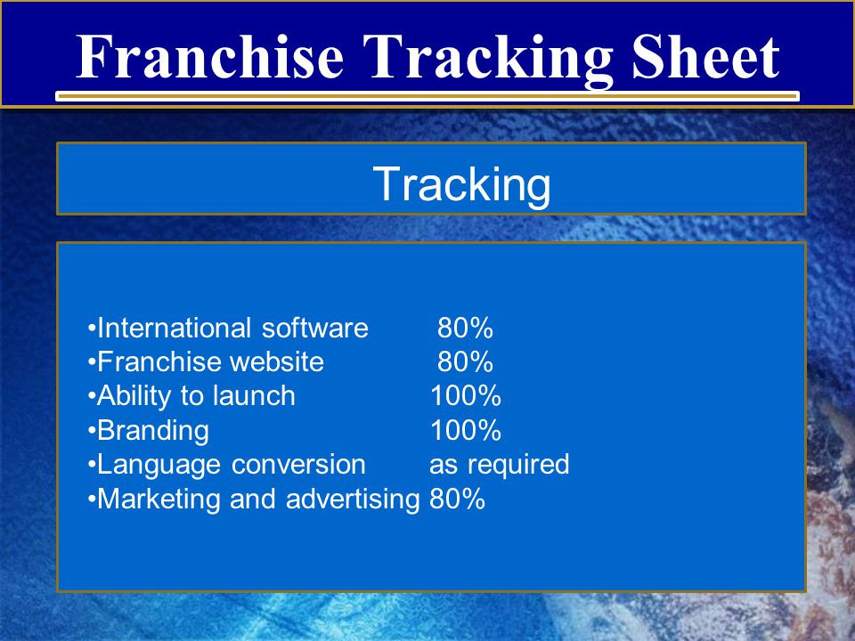 Franchise Tracking Sheet