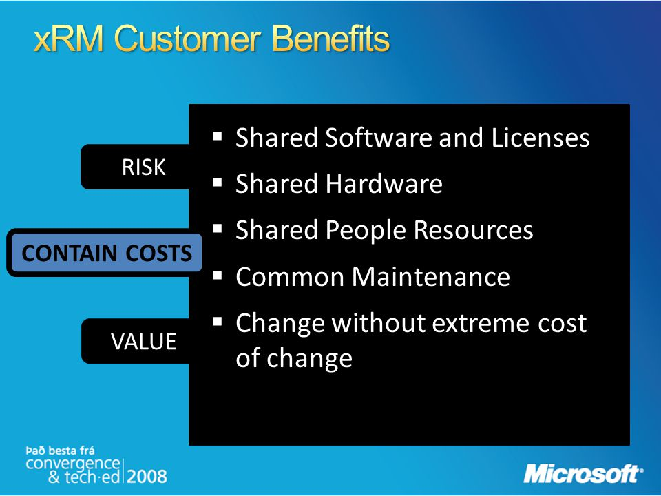 xRM Customer Benefits Shared Software and Licenses Shared Hardware