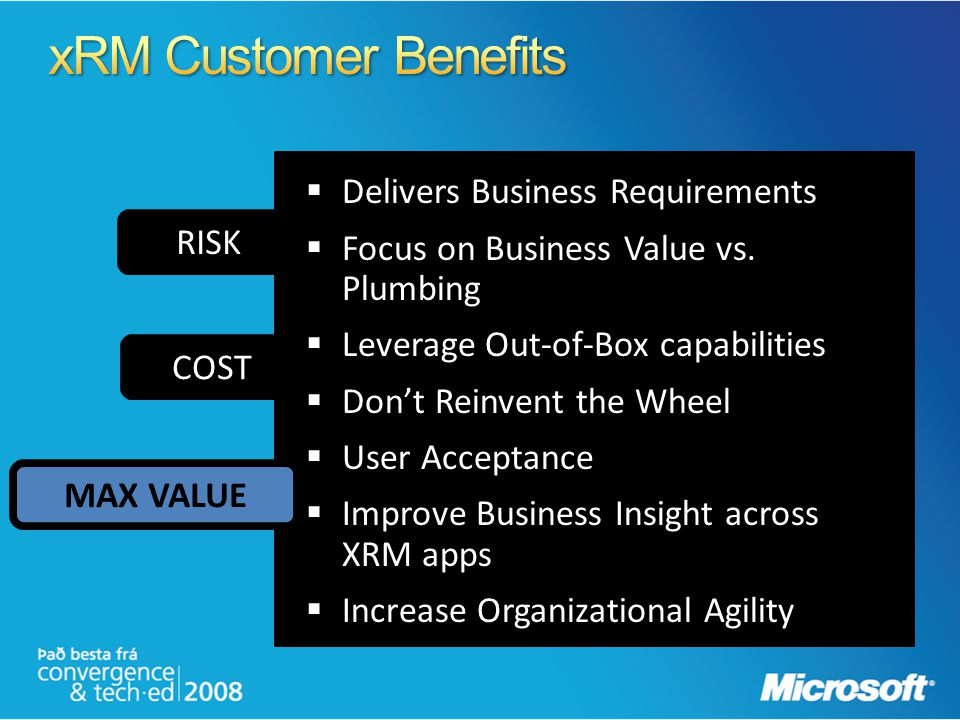 xRM Customer Benefits Delivers Business Requirements