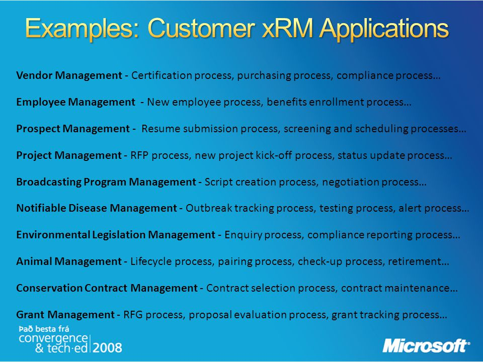 Examples: Customer xRM Applications