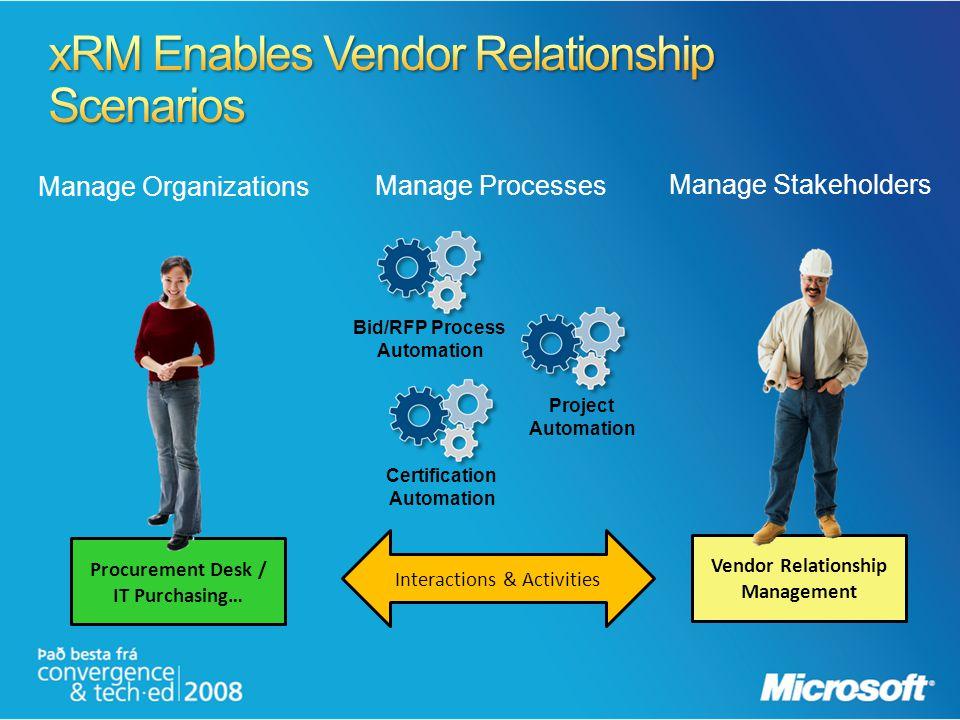 xRM Enables Vendor Relationship Scenarios