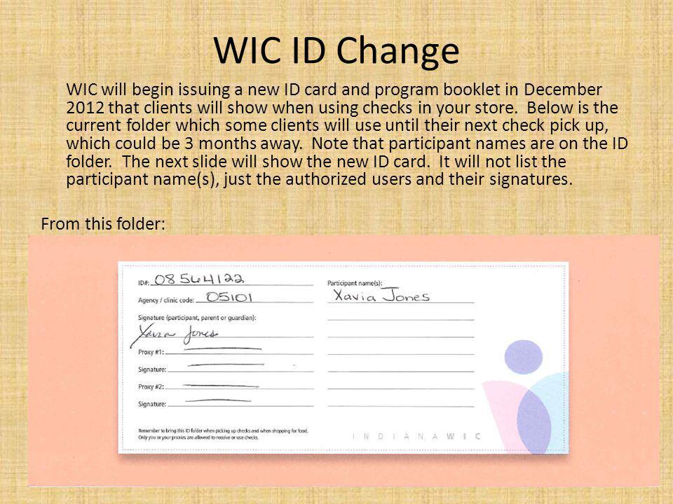 WIC ID Change
