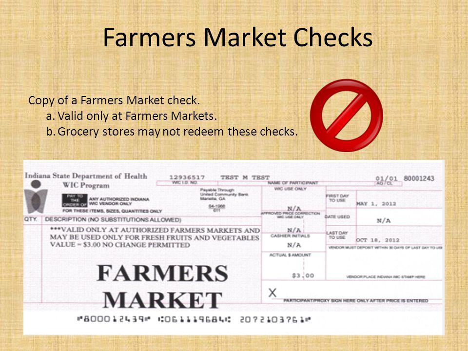 Farmers Market Checks Copy of a Farmers Market check.