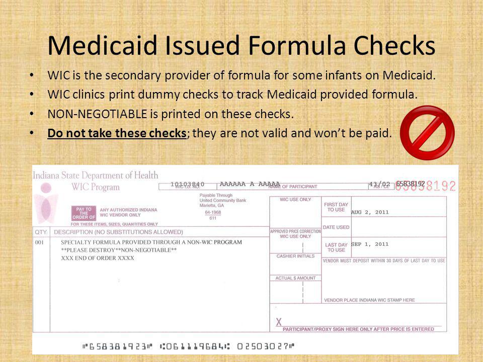Medicaid Issued Formula Checks
