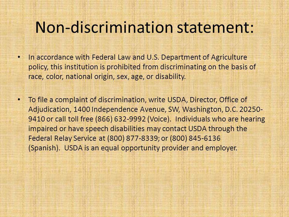 Non-discrimination statement: