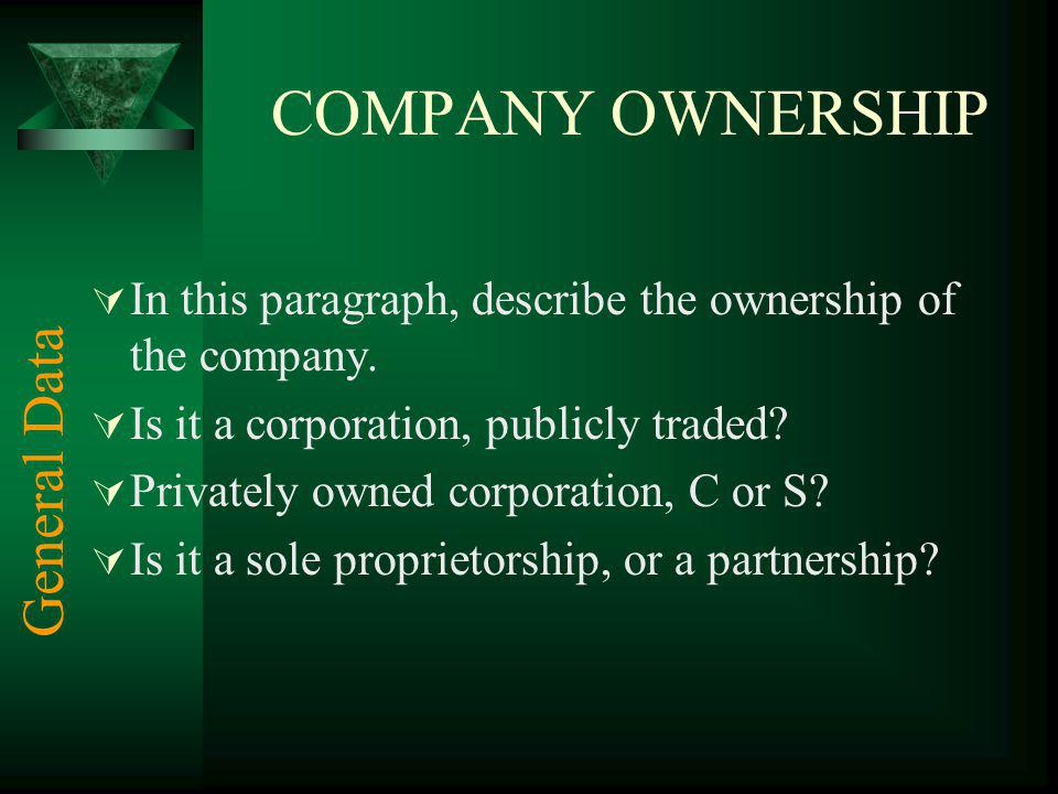COMPANY OWNERSHIP General Data