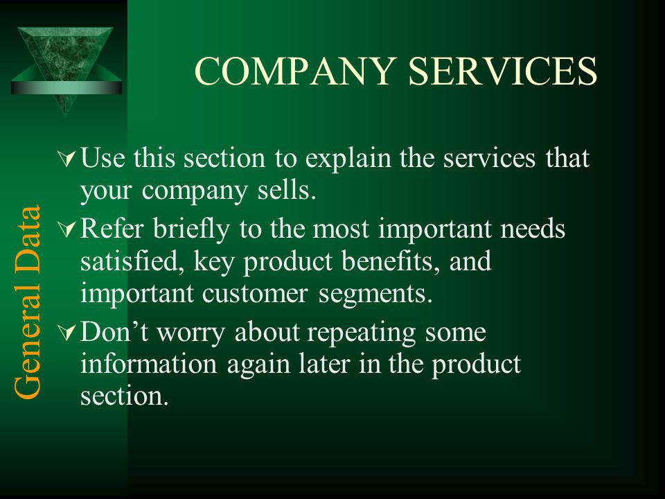 COMPANY SERVICES General Data