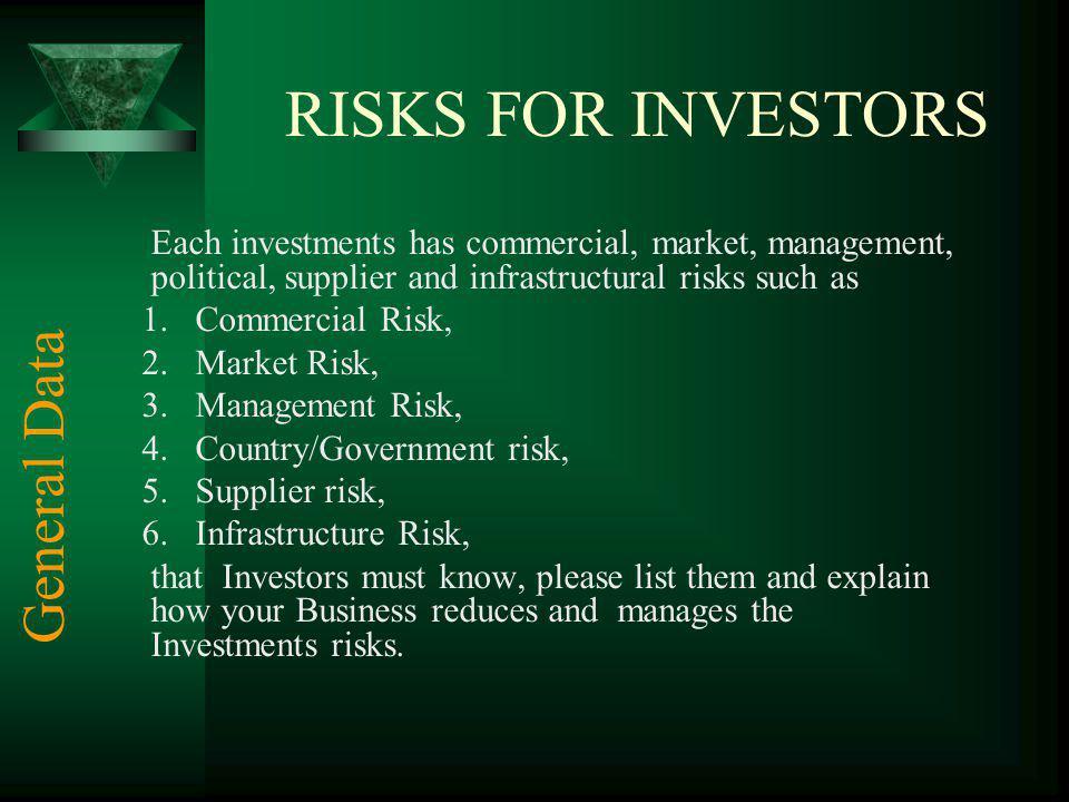 RISKS FOR INVESTORS General Data Commercial Risk, Market Risk,