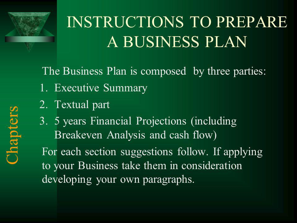 INSTRUCTIONS TO PREPARE A BUSINESS PLAN