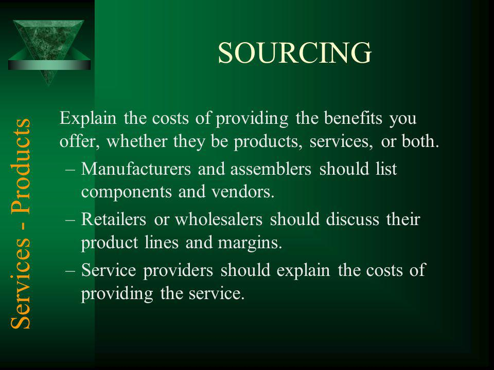 SOURCING Services - Products