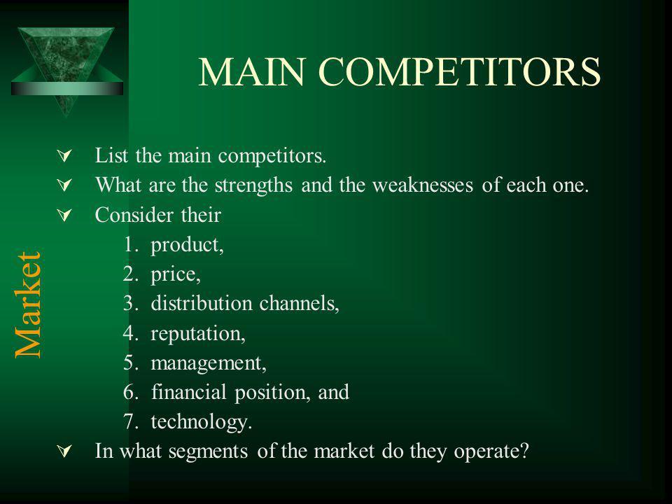 MAIN COMPETITORS Market List the main competitors.