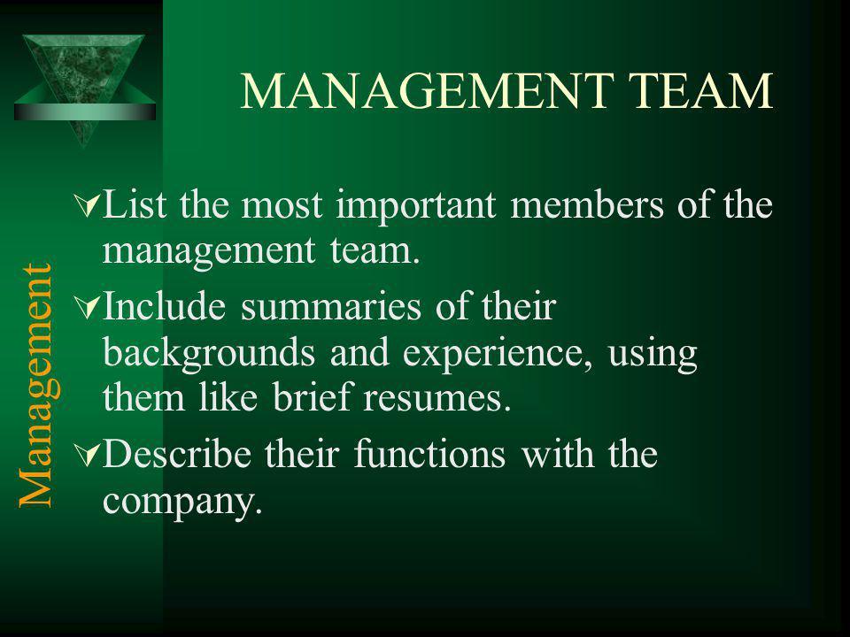 MANAGEMENT TEAM Management