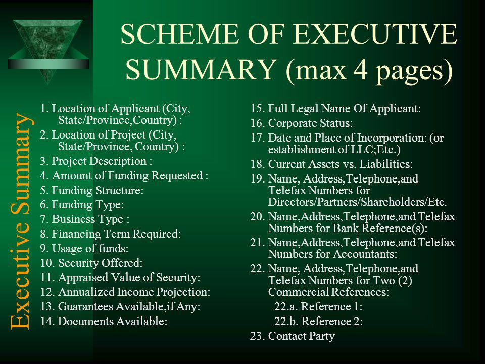 SCHEME OF EXECUTIVE SUMMARY (max 4 pages)