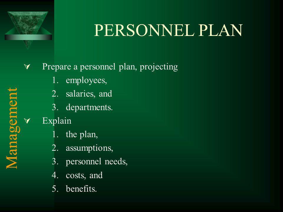 PERSONNEL PLAN Management Prepare a personnel plan, projecting