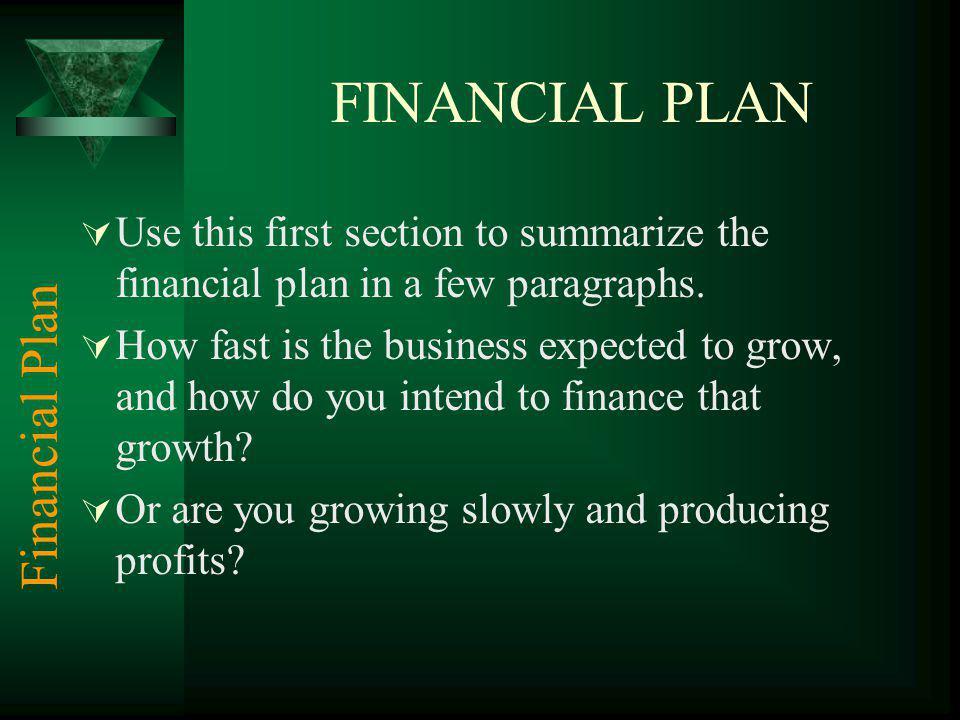 FINANCIAL PLAN Financial Plan