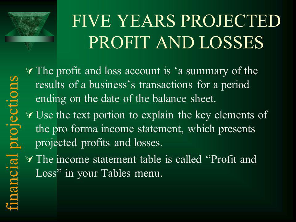 FIVE YEARS PROJECTED PROFIT AND LOSSES