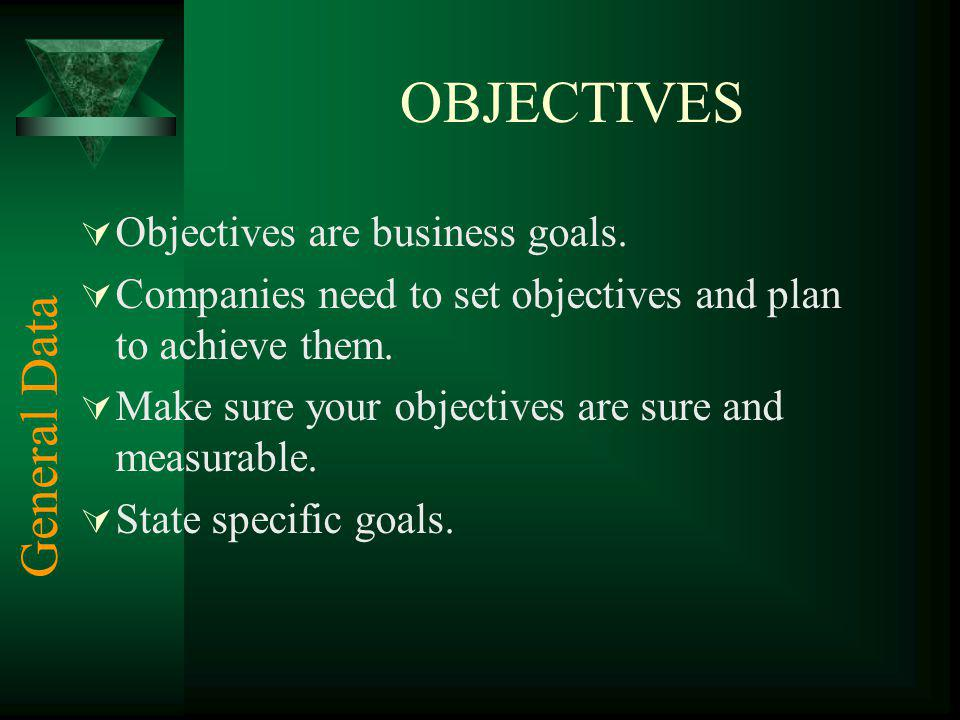 OBJECTIVES General Data Objectives are business goals.