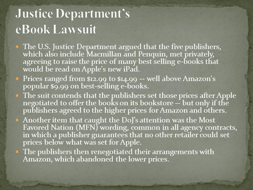 Justice Department's eBook Lawsuit