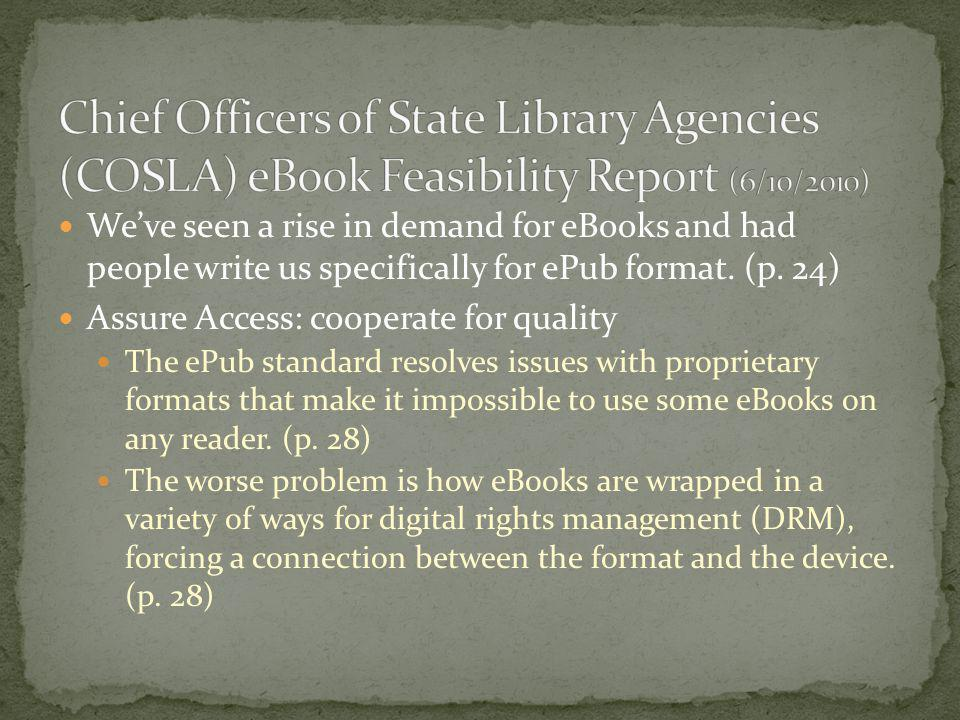 Chief Officers of State Library Agencies (COSLA) eBook Feasibility Report (6/10/2010)