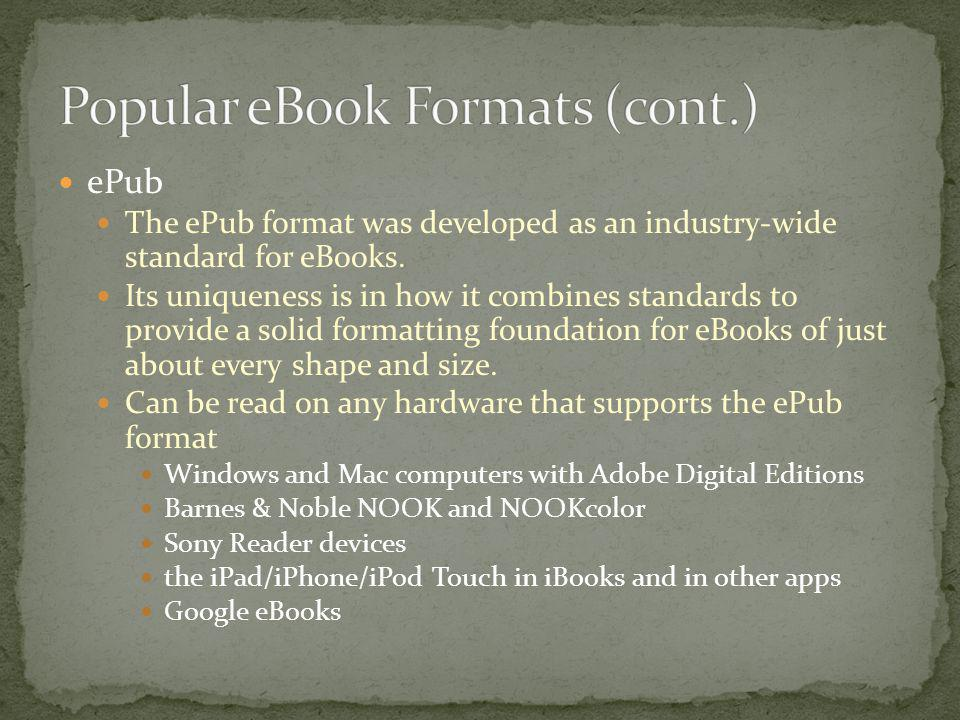Popular eBook Formats (cont.)