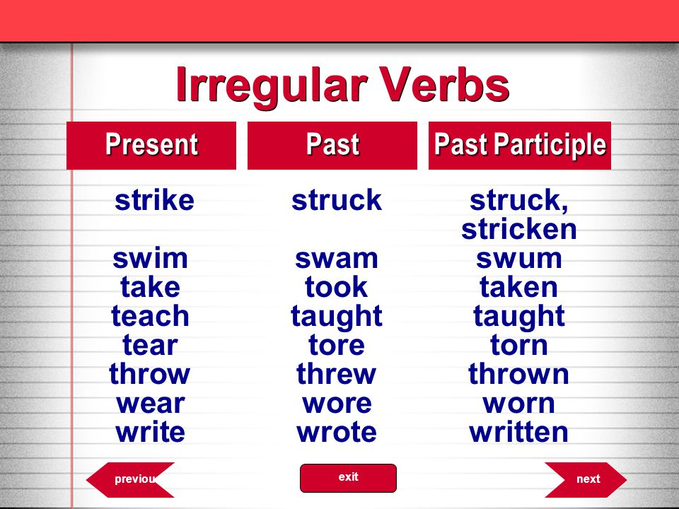 Irregular Verbs strike struck struck, Present Past Past Participle