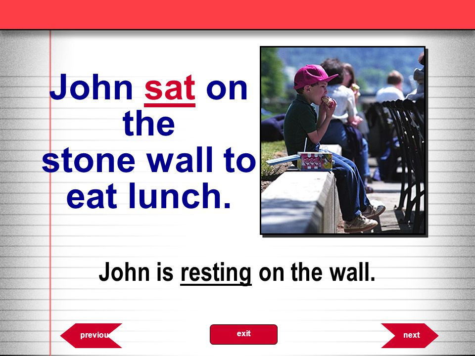 John sat on the stone wall to eat lunch. John is resting on the wall.