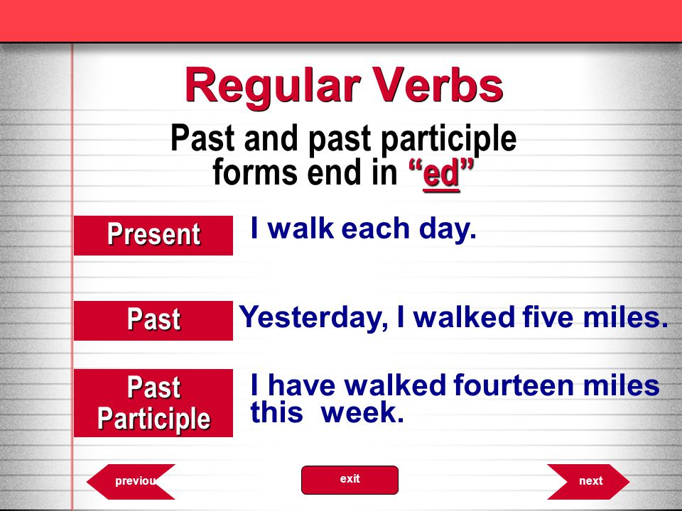 Past and past participle forms end in ed