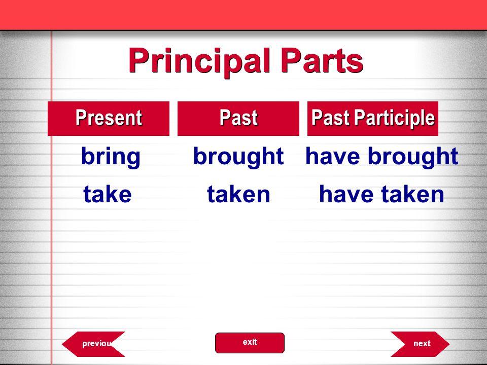 Principal Parts take taken have taken Present Past Past Participle
