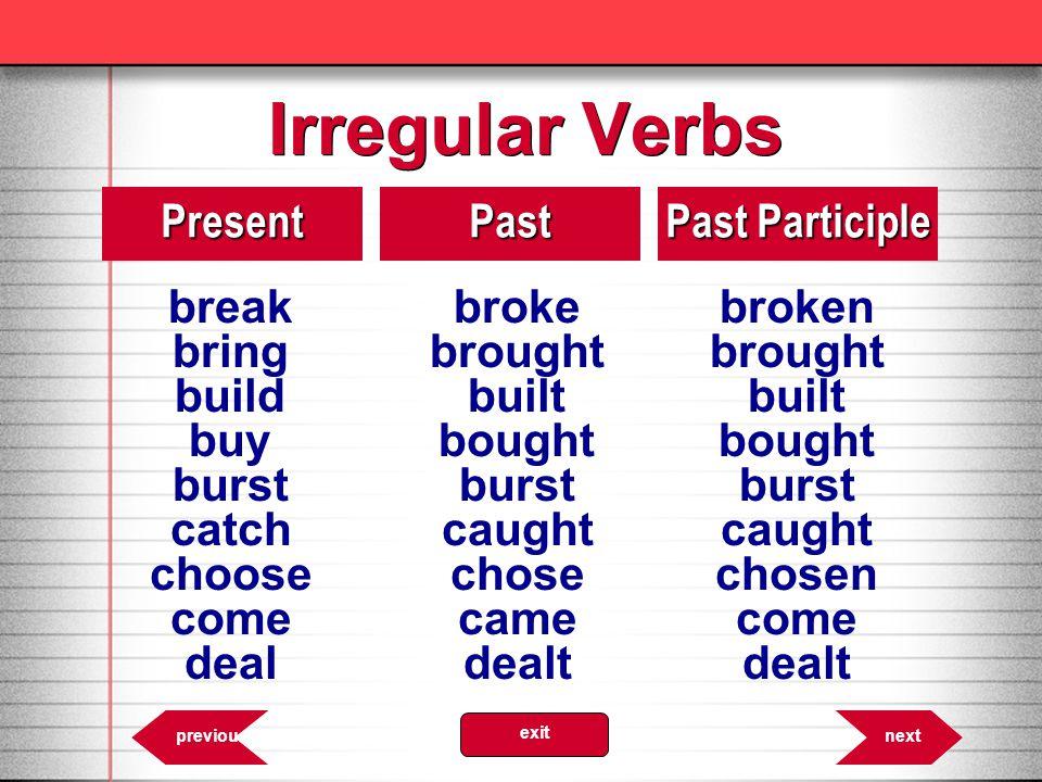 Irregular Verbs break broke broken Present Past Past Participle