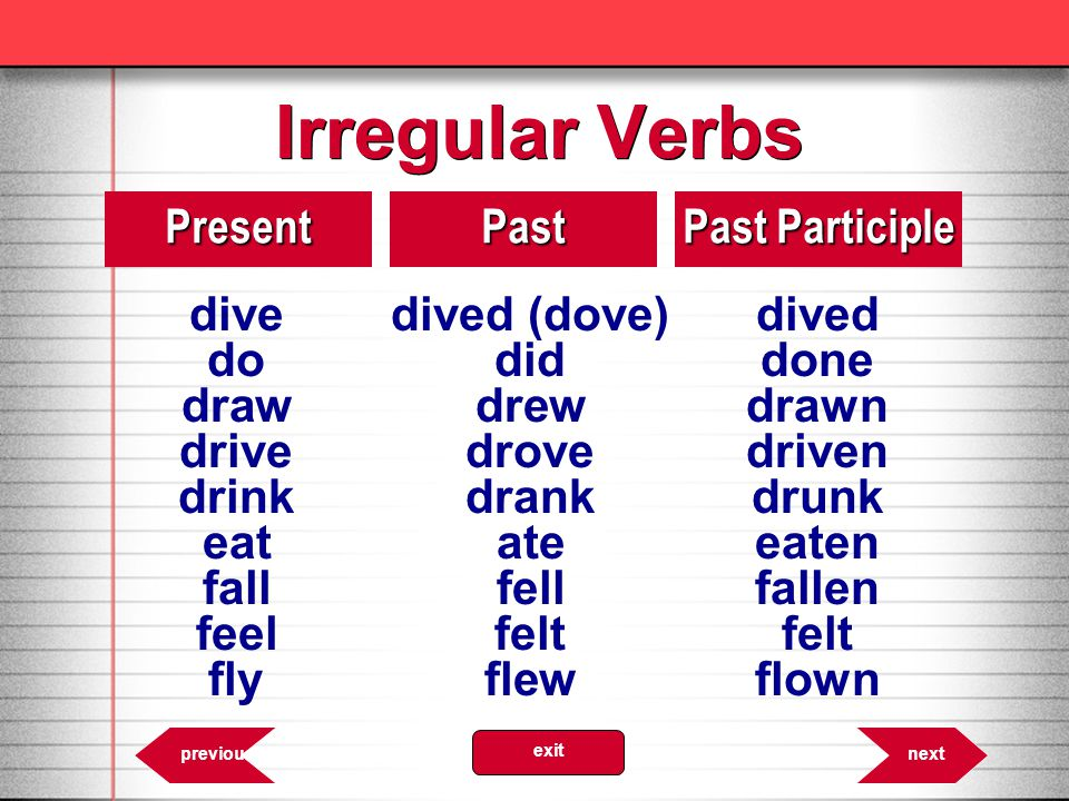 Irregular Verbs dive dived (dove) dived do did done Present Past