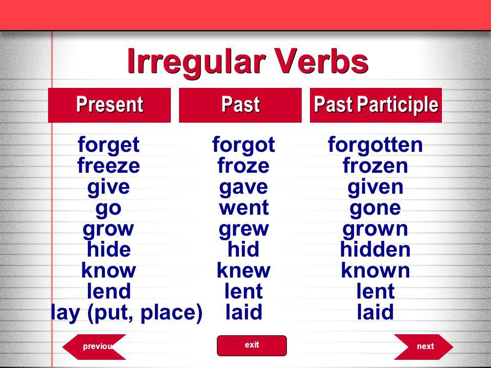 Irregular Verbs forget forgot forgotten Present Past Past Participle