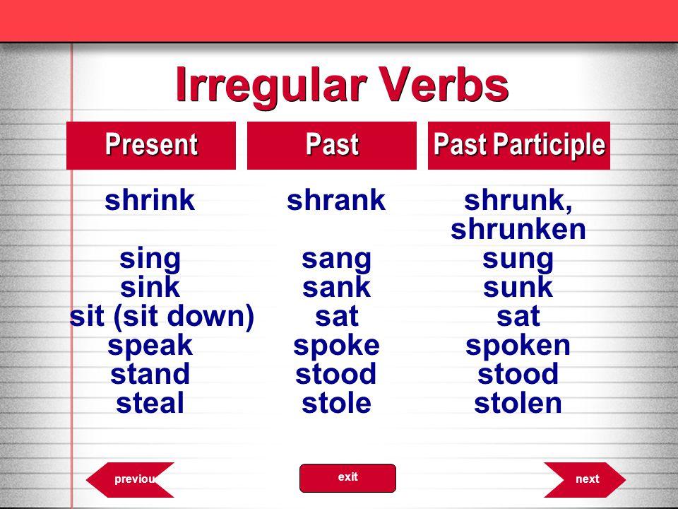 Irregular Verbs shrink shrank shrunk, Present Past Past Participle
