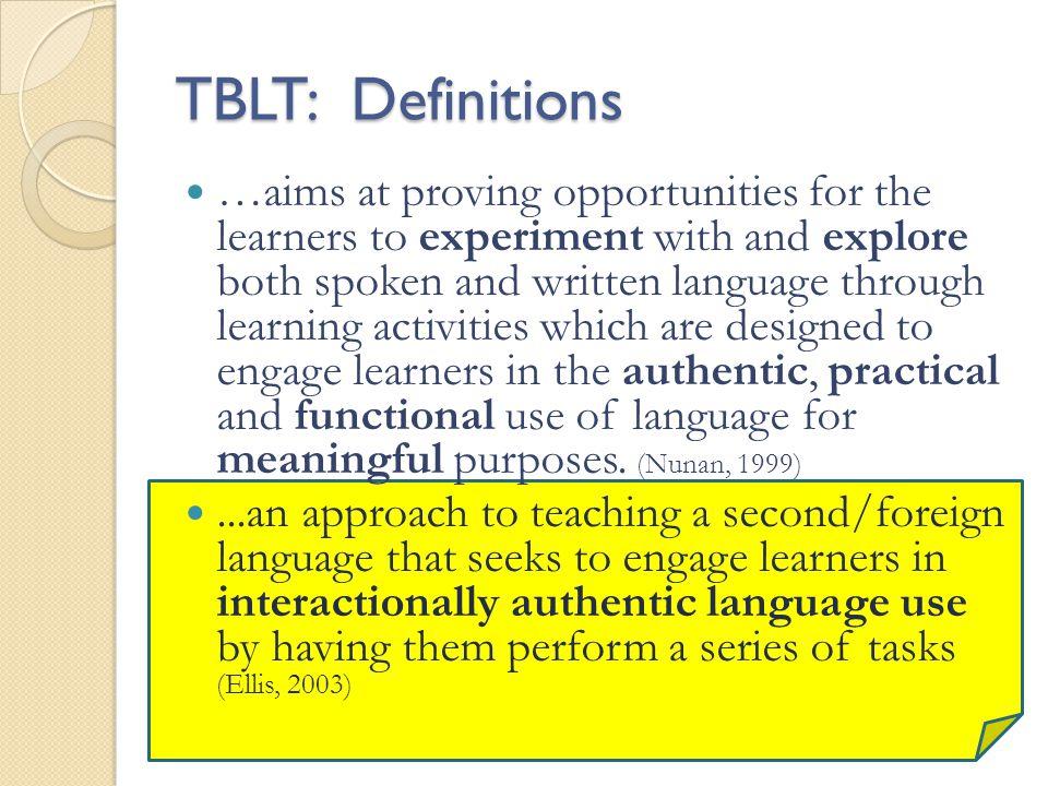 TBLT: Definitions