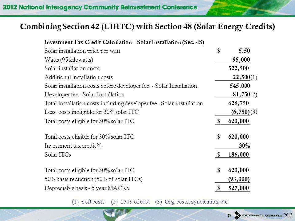 Combining Section 42 (LIHTC) with Section 48 (Solar Energy Credits)
