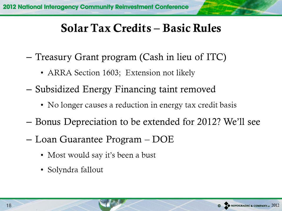 Solar Tax Credits – Basic Rules