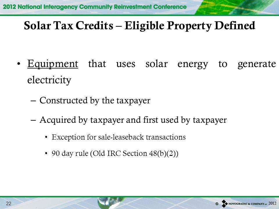 Solar Tax Credits – Eligible Property Defined