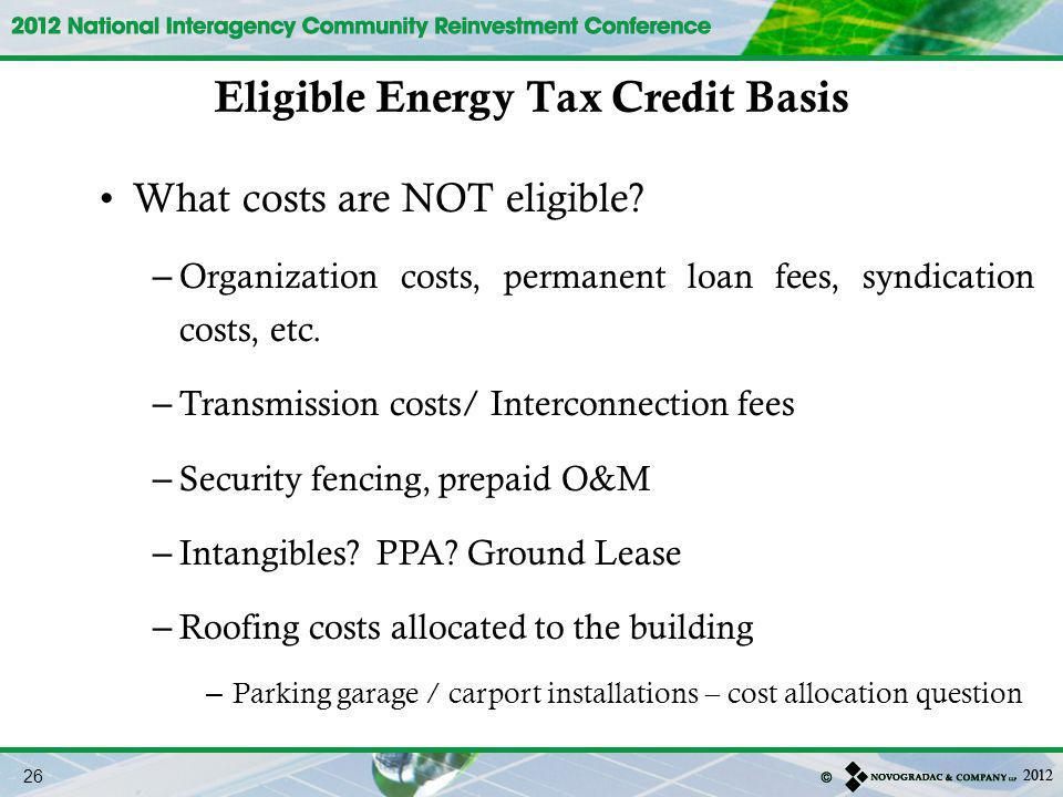 Eligible Energy Tax Credit Basis
