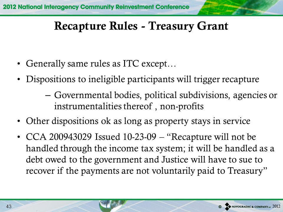 Recapture Rules - Treasury Grant