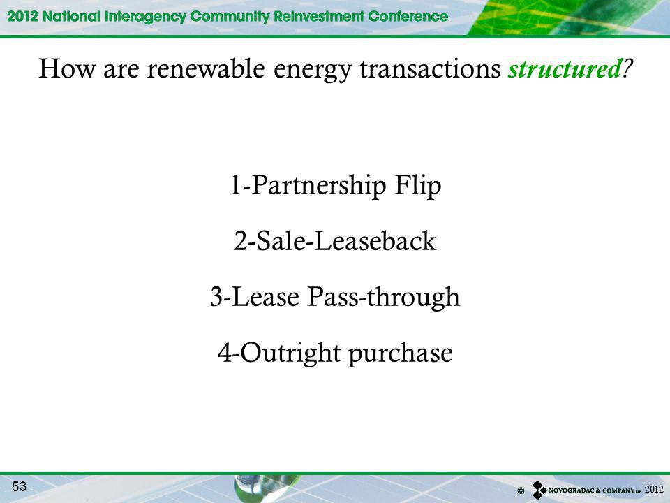 How are renewable energy transactions structured