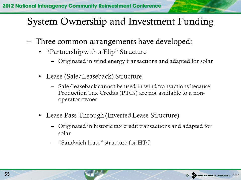 System Ownership and Investment Funding