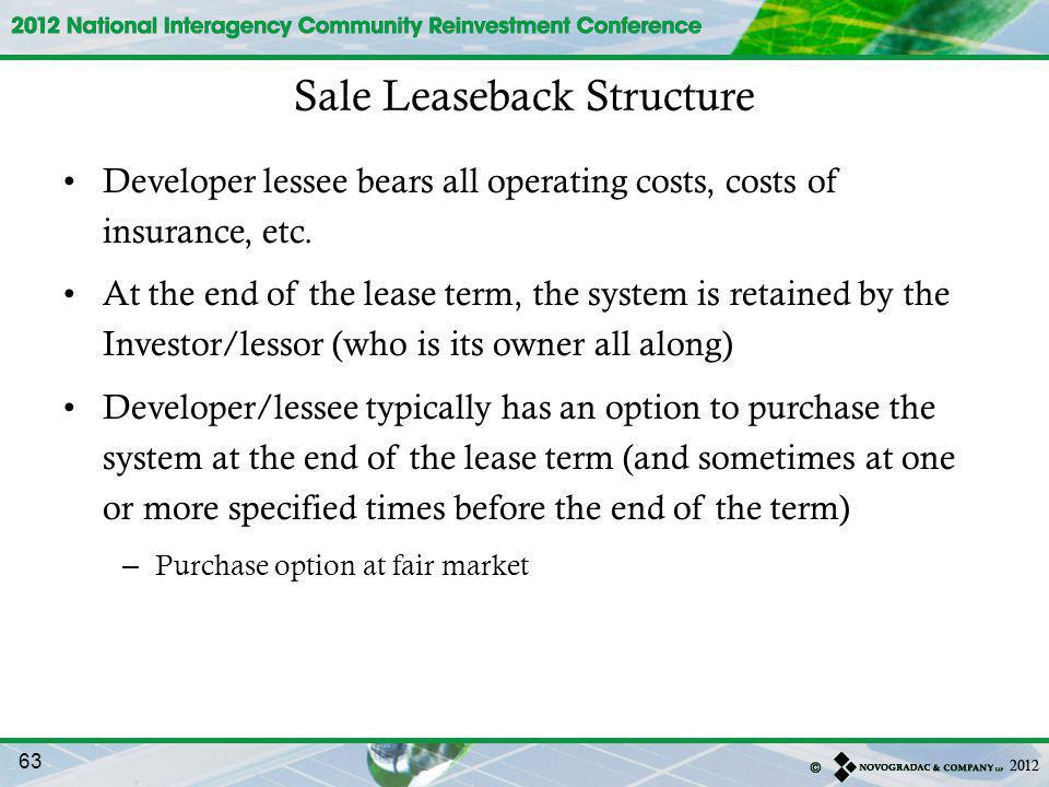 Sale Leaseback Structure