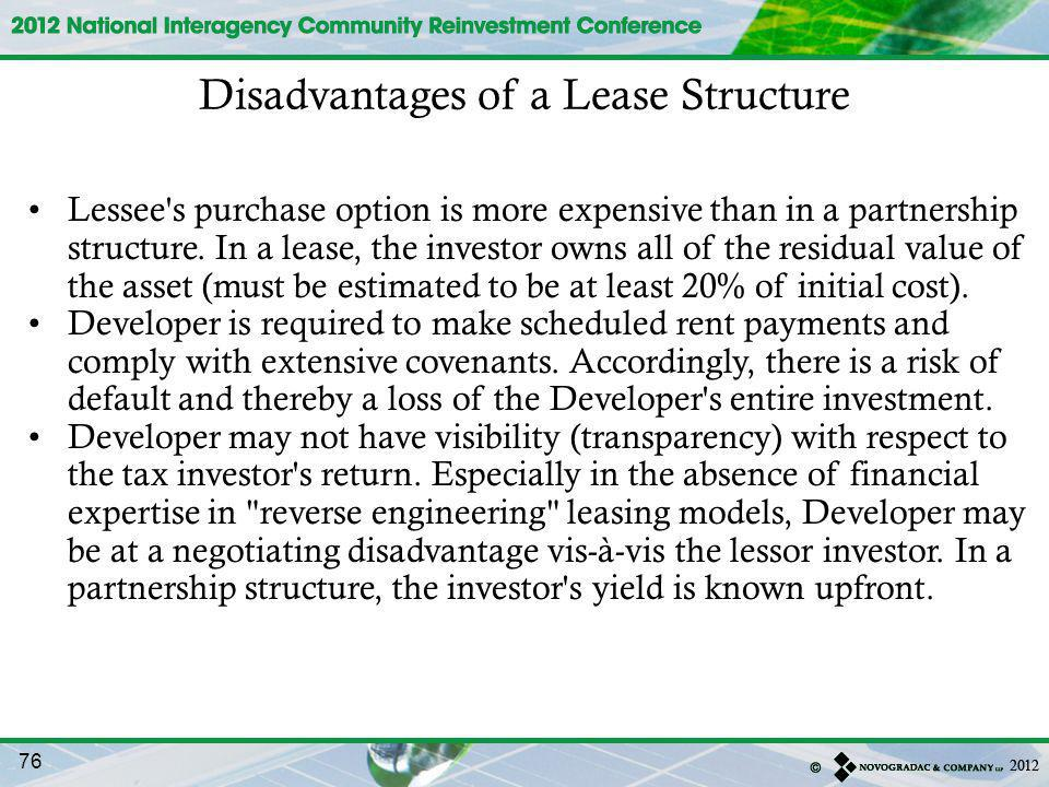 Disadvantages of a Lease Structure