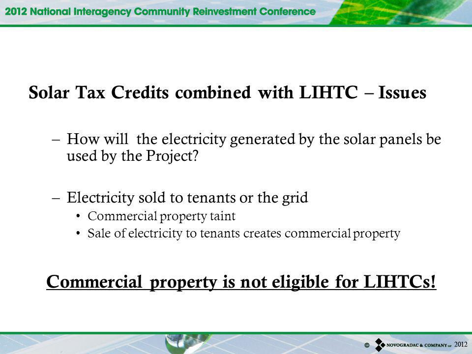 Solar Tax Credits combined with LIHTC – Issues
