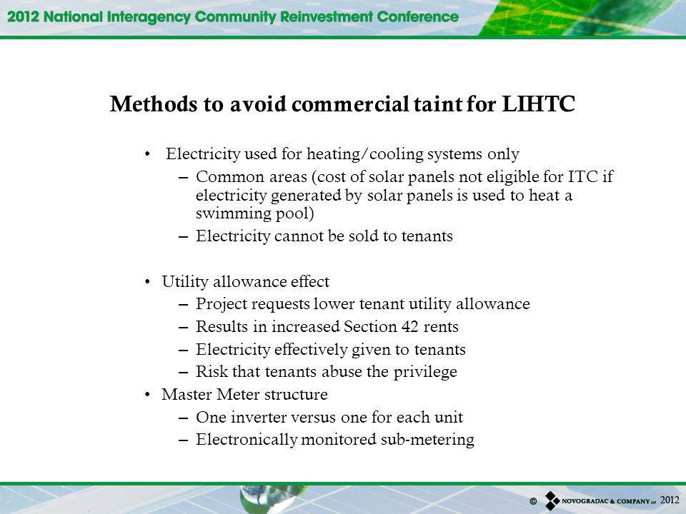 Methods to avoid commercial taint for LIHTC