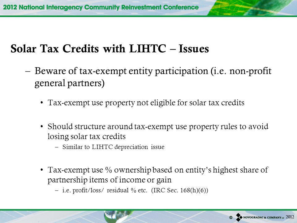 Solar Tax Credits with LIHTC – Issues