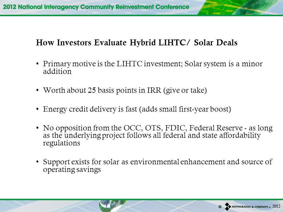 How Investors Evaluate Hybrid LIHTC/ Solar Deals